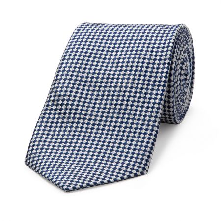 Diced Check Woven Tie in Blue and White