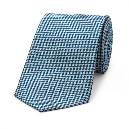Diced Check Woven Tie in Bright Blue