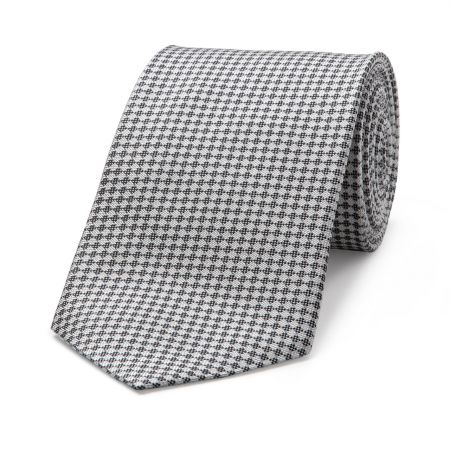 Diced Check Woven Tie in Grey