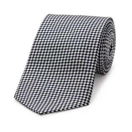 Diced Check Woven Tie in Navy and Blue