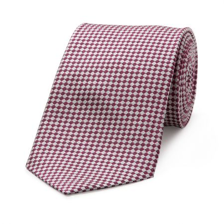 Diced Check Woven Tie in Pink