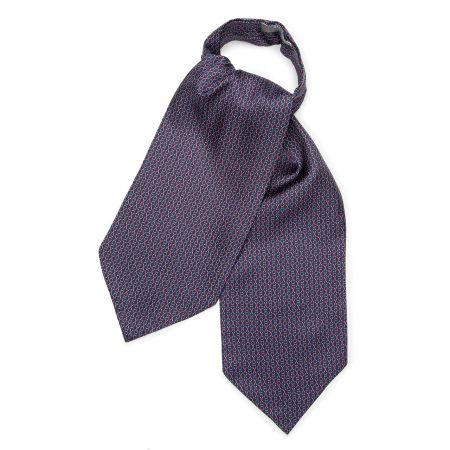 Looping Foulard Silk Cravat in Navy