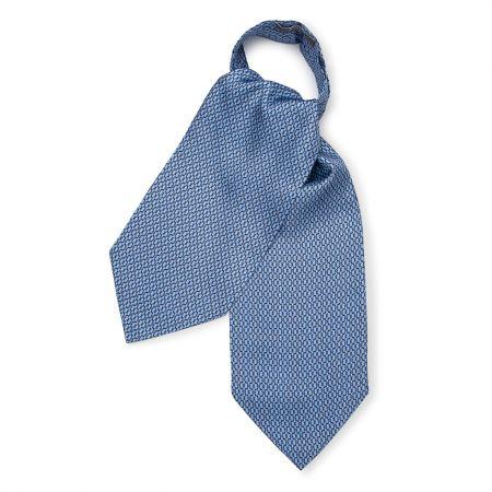 Looping Foulard Silk Cravat in Sky Blue
