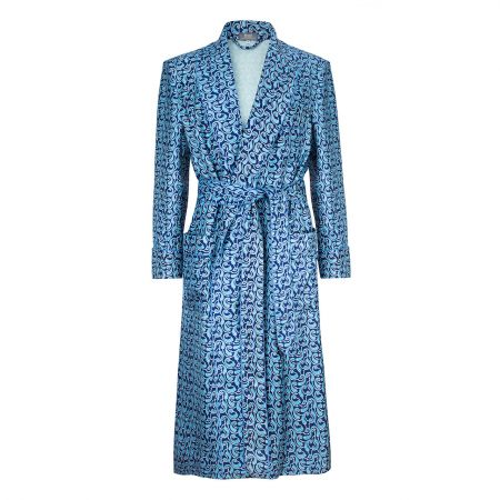 Paisley 50oz Silk Dressing Gown in Sky Blue