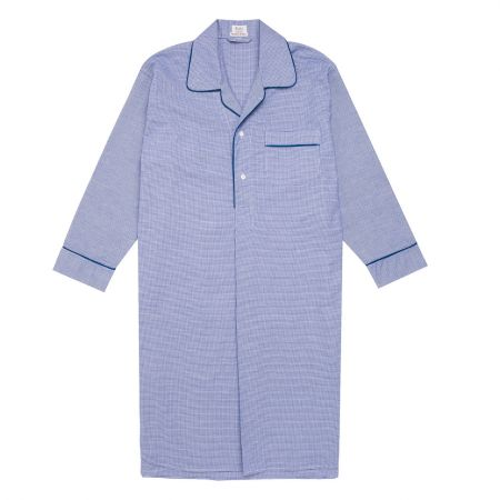 Puppytooth Brushed Cotton Nightshirt in Royal
