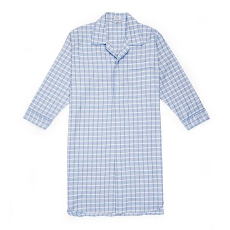 Large Check Cotton and Cashmere Nightshirt in Sky Blue