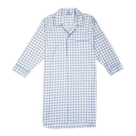 Large Check Cotton and Cashmere Nightshirt in White