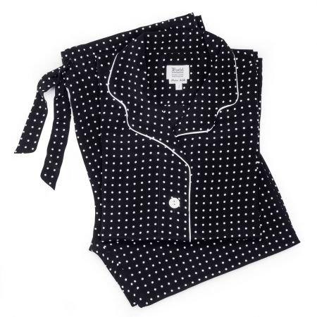 Spot Crepe de Chine Silk Ladies Pyjamas in Black and White