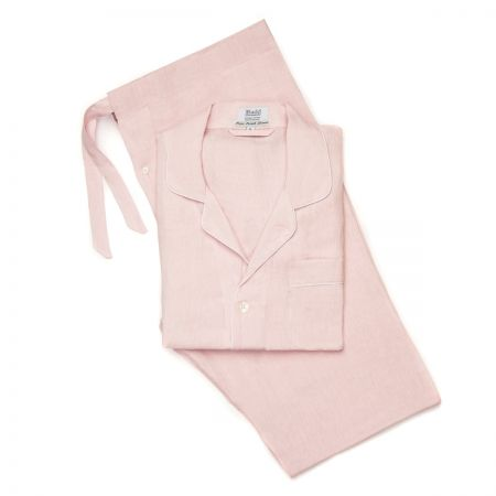 Plain Linen Pyjamas in Pink