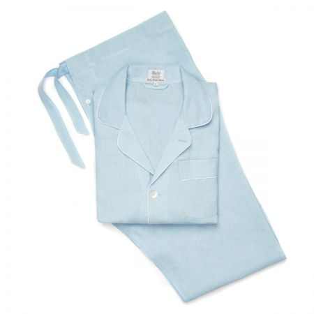Plain Linen Pyjamas in Sky Blue