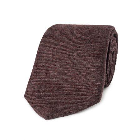 Neat Tonal Rib Pure Cashmere Tie in Wine