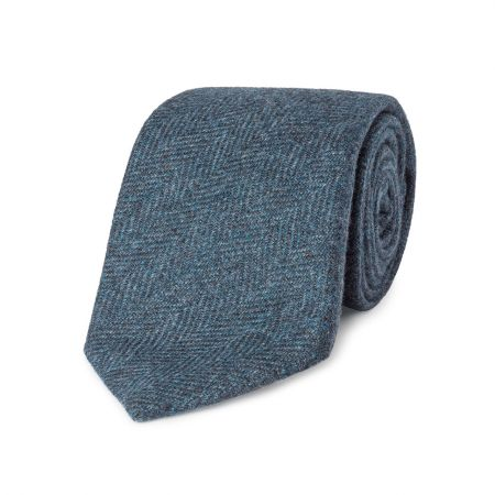 Tonal Herringbone Pure Cashmere Tie in Blue