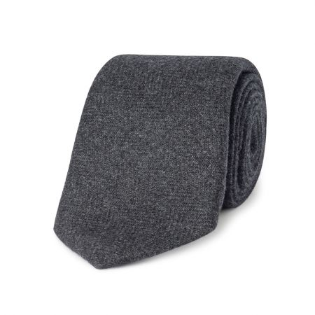 Tonal Herringbone Pure Cashmere Tie in Charcoal