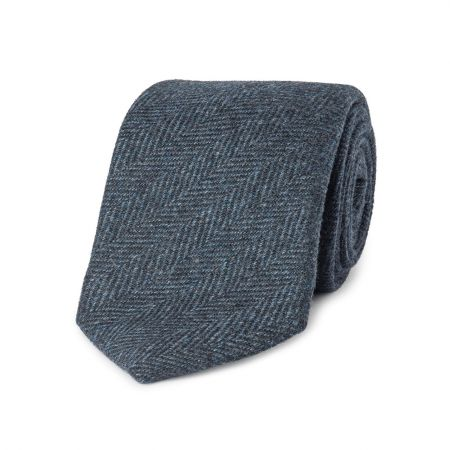 Tonal Herringbone Pure Cashmere Tie in Navy