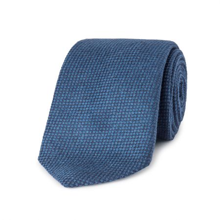Tonal Pinhead Pure Cashmere Tie in Blue