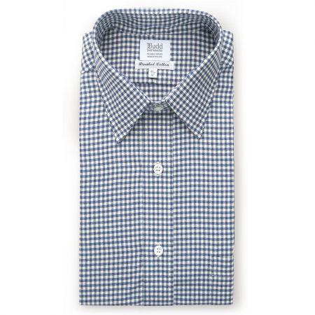 Small Gingham Brushed Cotton Shirt in Blue
