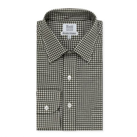 Small Gingham Brushed Cotton Shirt in Green