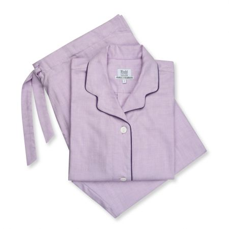 Small Herringbone Cotton and Cashmere Ladies Pyjamas in Lilac