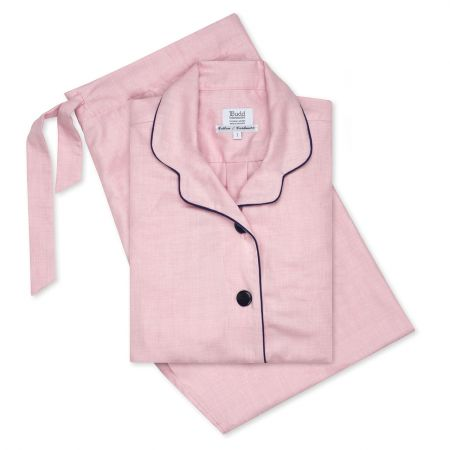 Small Herringbone Cotton and Cashmere Ladies Pyjamas in Pink and Navy
