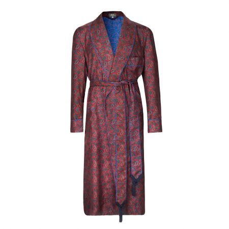 Medium Repeat Paisley 36oz Madder Silk Dressing Gown in Red