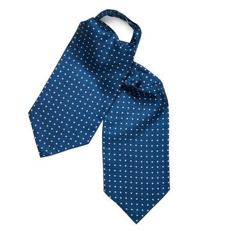 Medium Spot Foulard Silk Cravat in Blue and White