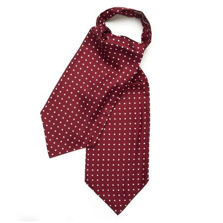 Medium Spot Foulard Silk Cravat in Burgundy and White