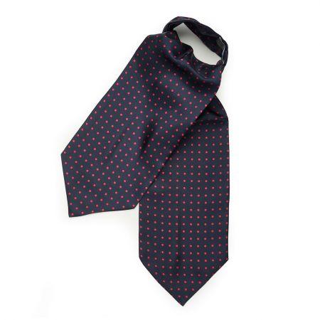 Medium Spot Foulard Silk Cravat in Navy and Red