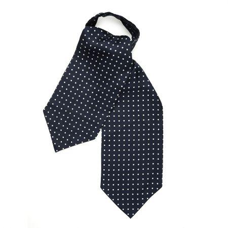 Medium Spot Foulard Silk Cravat in Navy and White
