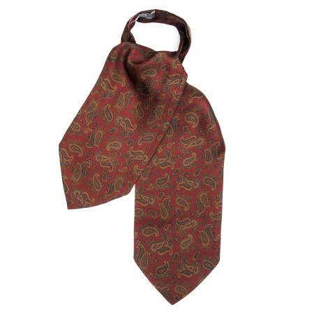 Medium Paisley Silk Cravat in Wine