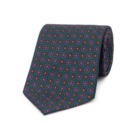 Geometric Floral Madder Tie in Green