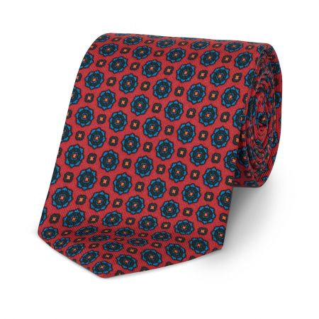 Geometric Floral Madder Tie in Red