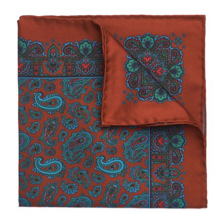 Medium Paisley Madder Silk Pocket Square in Chestnut