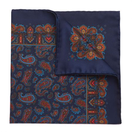 Medium Paisley Madder Silk Pocket Square in Navy