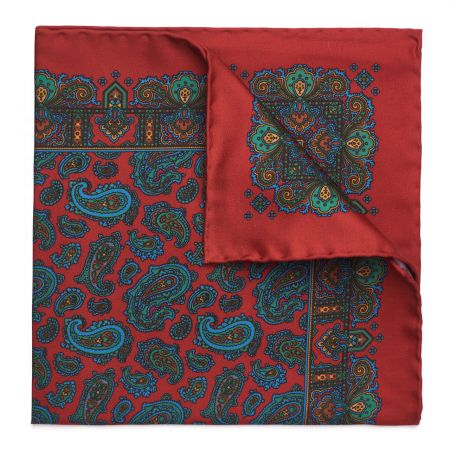 Medium Paisley Madder Silk Pocket Square in Tudor