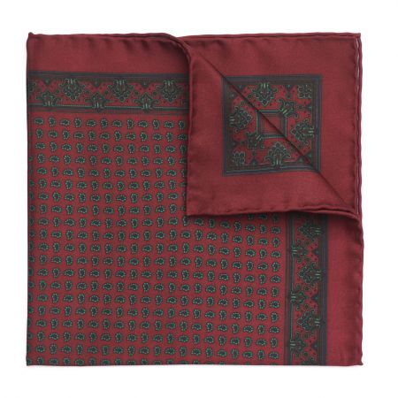 Small Paisley Madder Silk Pocket Square in Burgundy