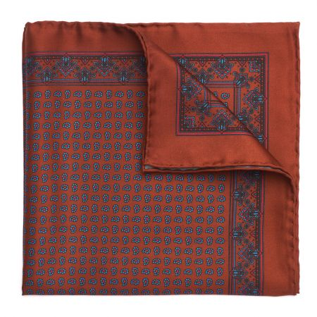 Small Paisley Madder Silk Pocket Square in Chestnut
