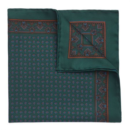 Small Paisley Madder Silk Pocket Square in Yew