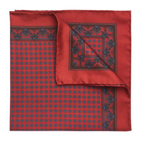 Small Daisy Madder Silk Pocket Square in Tudor