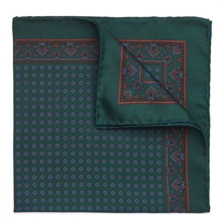 Small Daisy Madder Silk Pocket Square in Yew