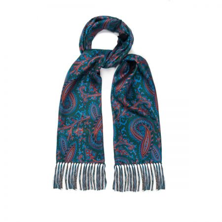 Oversize Paisley 40oz Madder Scarf in Green