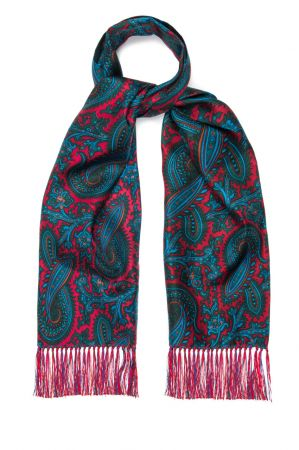 Oversize Paisley 40oz Madder Scarf in Red