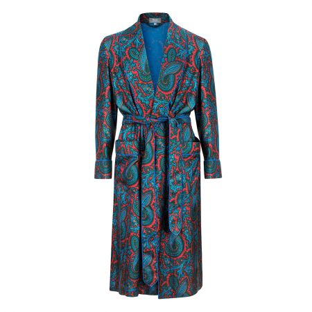 Oversize Paisley 40oz Madder Silk Dressing Gown in Red