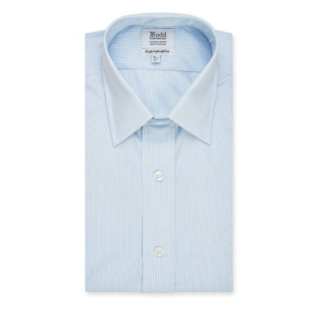 Classic Fit Micro Check Superpoplin Double Cuff Shirt in Blue