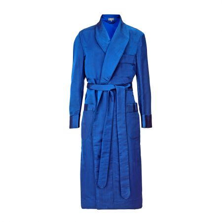 Moiré Silk Dressing Gown in Bright Royal