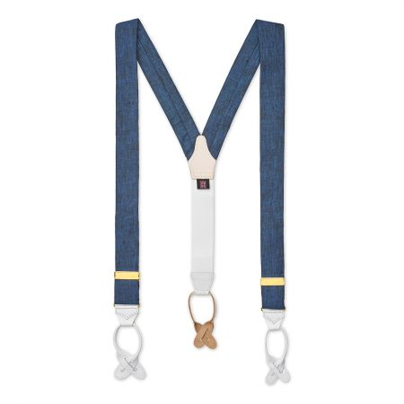 Plain Linen Braces in Indigo Front