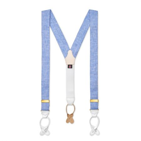 Plain Linen Braces in Sky Blue Front