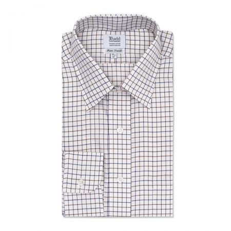 Classic Fit Tattersal Check Italian Twill Button Cuff Shirt in Navy and Brown