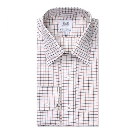 Classic Fit Tattersal Check Italian Twill Button Cuff Shirt in Navy and Wine