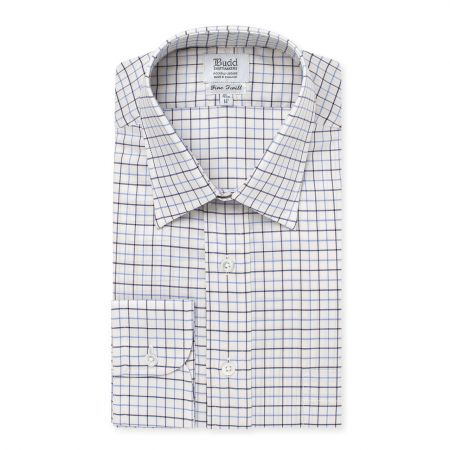 Tattersal Check Italian Twill Shirt in Sky and Navy