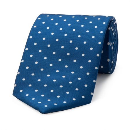 Medium Spot Seven Fold Tie in Blue and White